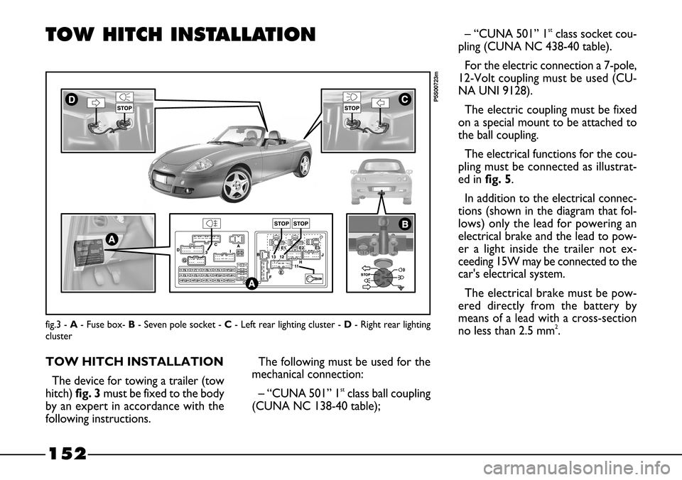 FIAT BARCHETTA 2003 1.G Owners Manual (170 Pages), Page