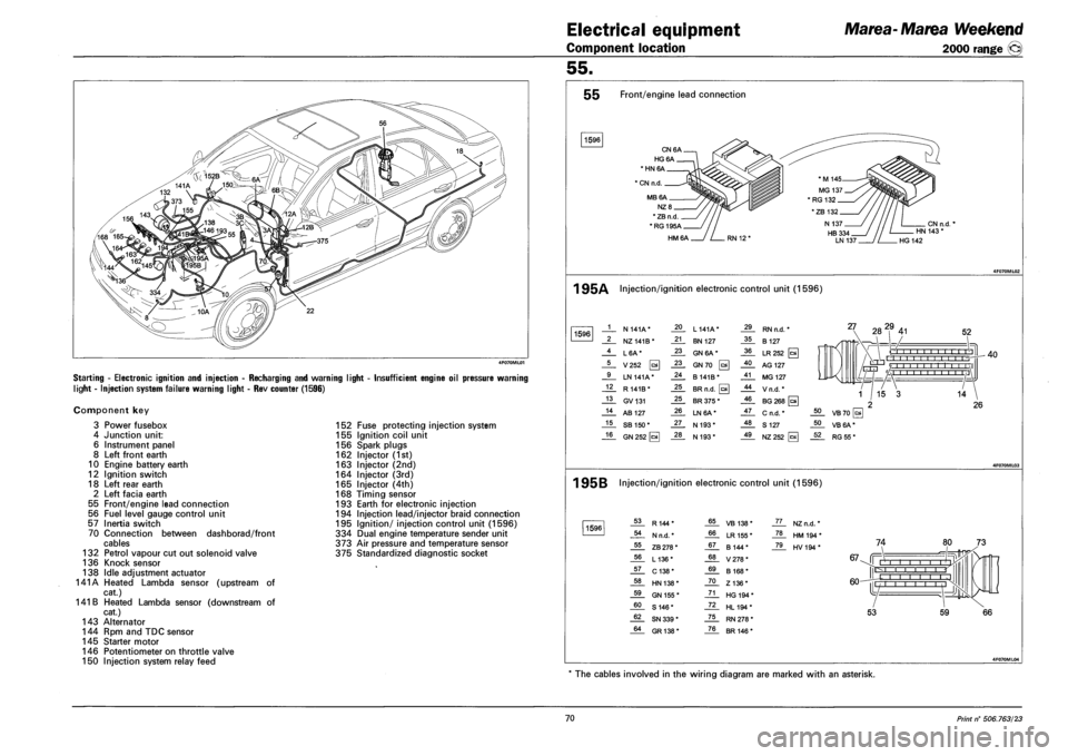 battery FIAT MAREA 2001 1.G Workshop Manual