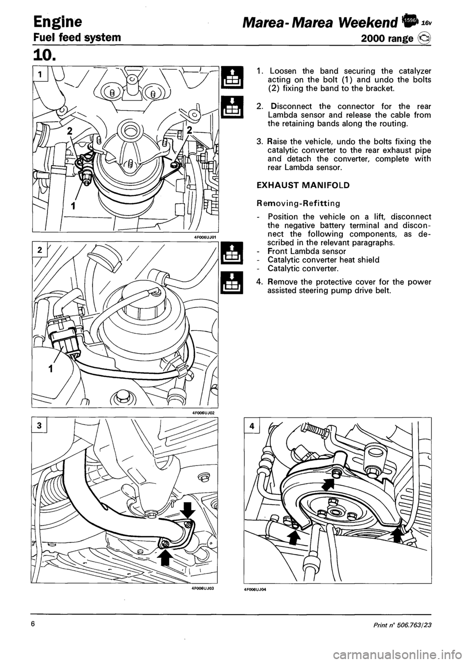 battery FIAT MAREA 2001 1.G Workshop Manual