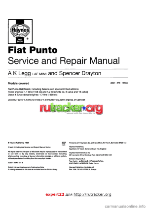 FIAT PUNTO 1994 176  1G Workshop Manual