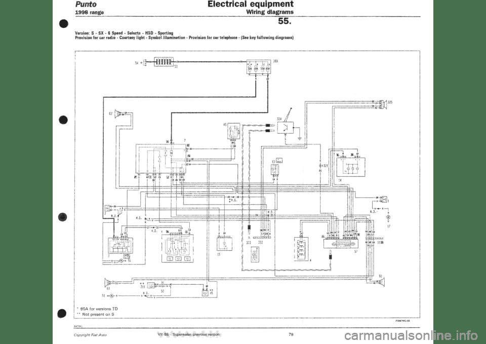 FIAT PUNTO 1998 176 / 1.G Wiring Diagrams Workshop Manual
