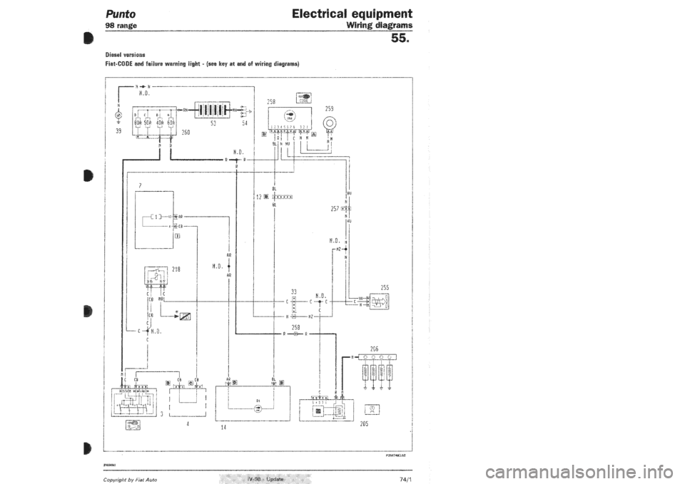 FIAT PUNTO 1998 176 / 1.G Wiring Diagrams Workshop Manual