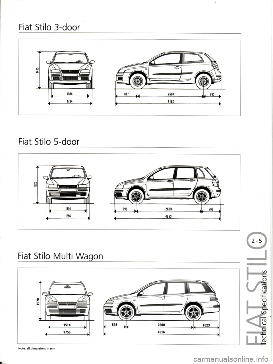 FIAT STILO 2004 1.G Technical Specifications Manual