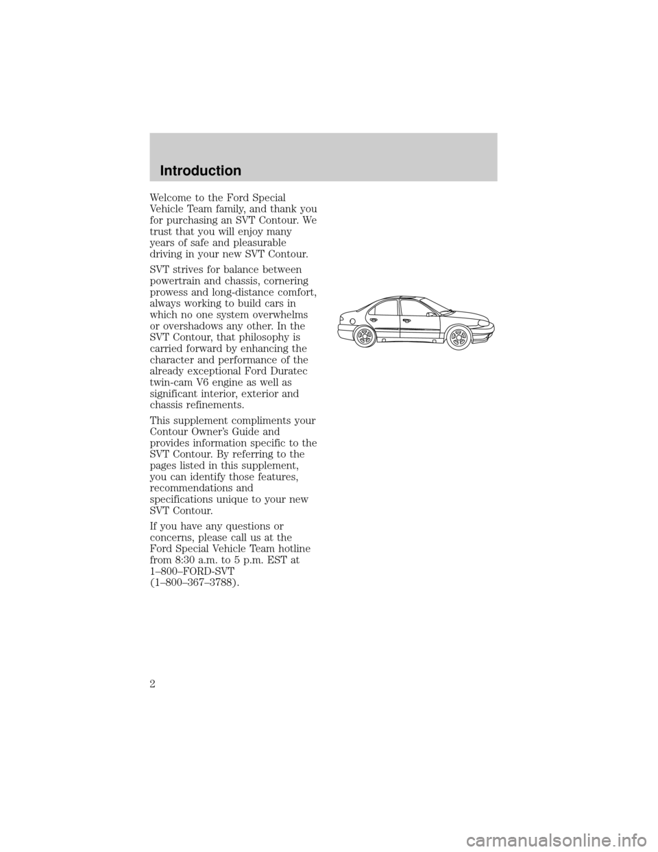 FORD CONTOUR 1998 2.G SVT Supplement Manual