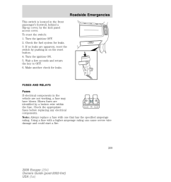 ford escape 2008 2 g owners manual page 209 [ 960 x 1242 Pixel ]