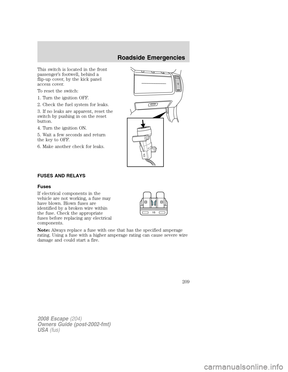 hight resolution of ford escape 2008 2 g owners manual page 209