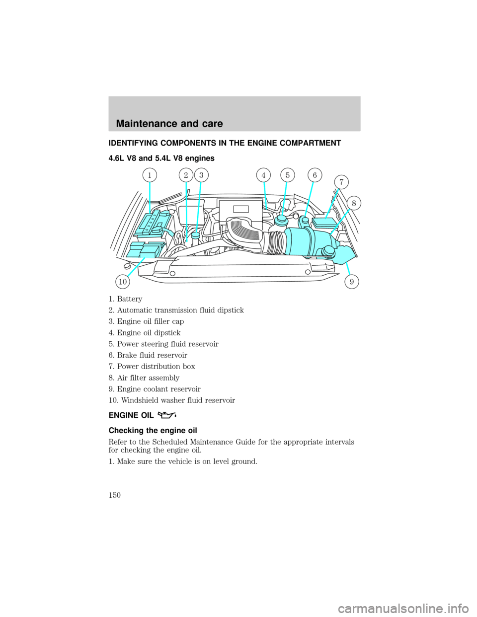 hight resolution of ford f150 2001 10 g owners manual page 150 identifying components in the