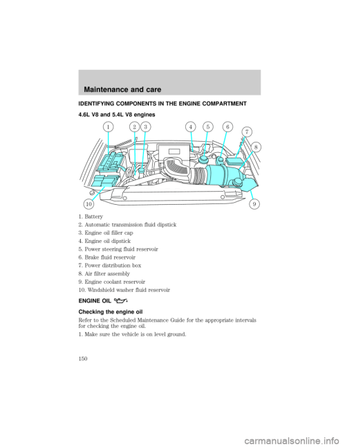 small resolution of ford f150 2001 10 g owners manual page 150 identifying components in the