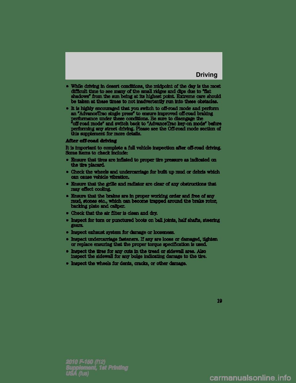 FORD F150 2010 12.G Raptor Supplement Manual