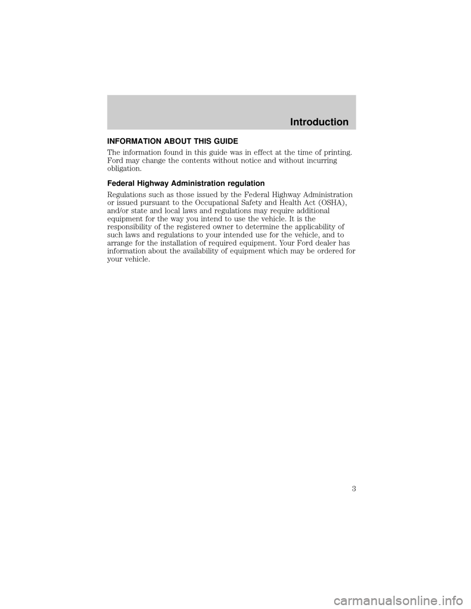 FORD F650 2001 10.G Owners Manual