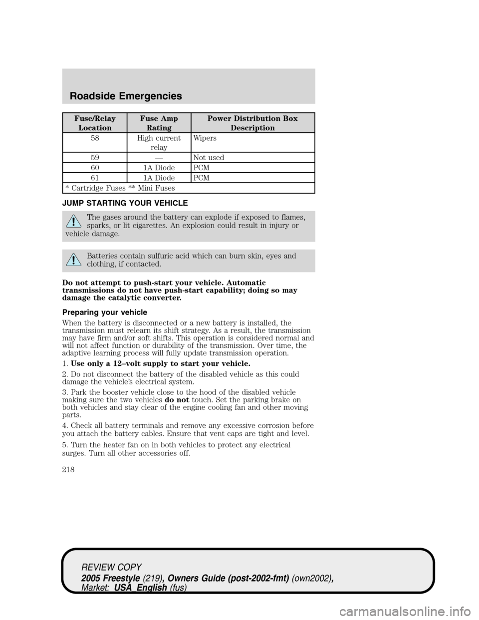 medium resolution of ford freestyle 2005 1 g owners manual page 218 fuse relay
