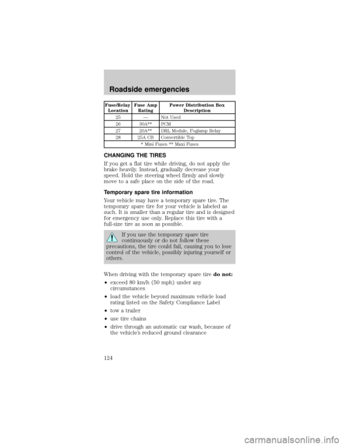 small resolution of ford mustang 2000 4 g owners manual page 124 fuse relay