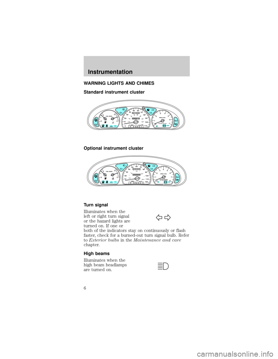 FORD TAURUS 1999 3.G Owners Manual