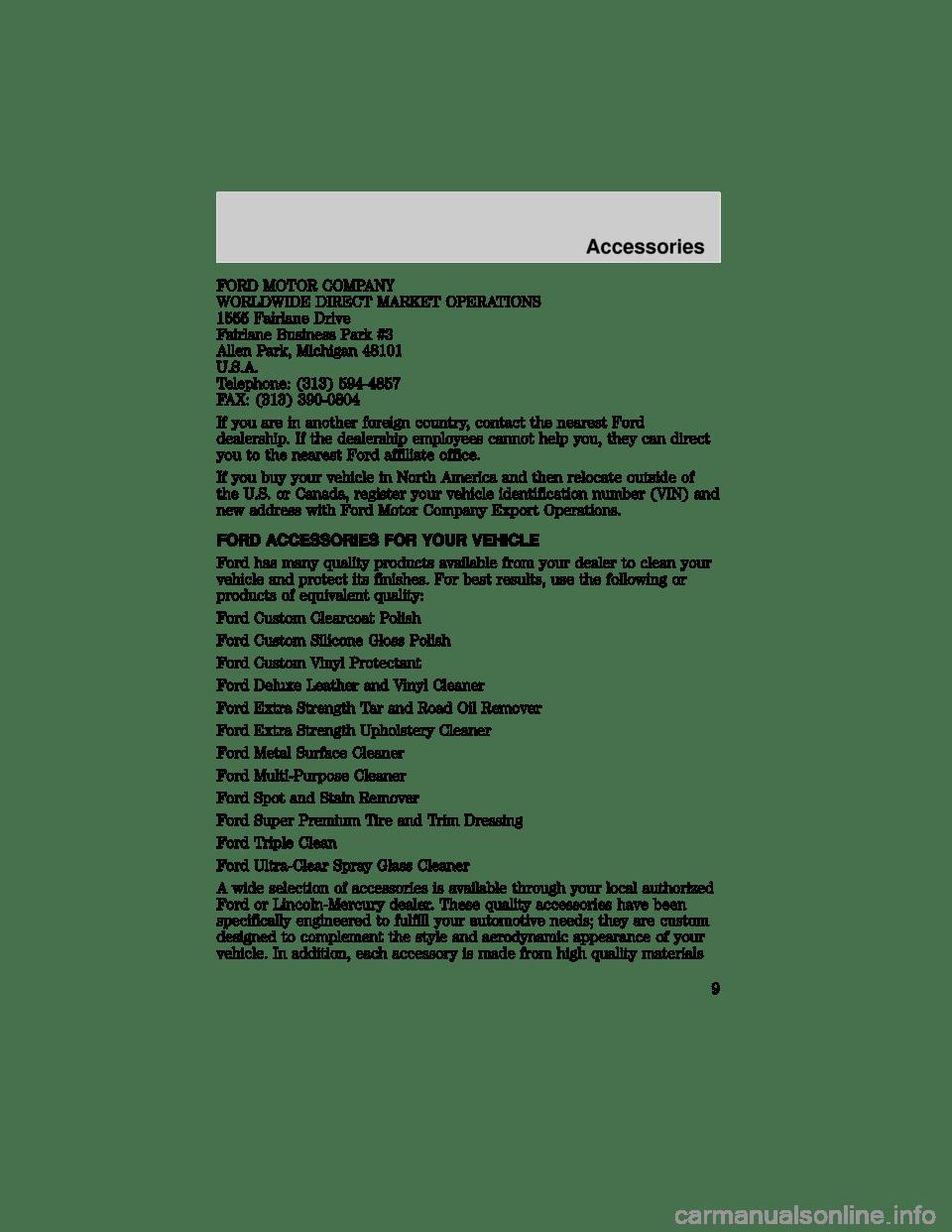 FORD WINDSTAR 1998 1.G Customet Assistance Guide