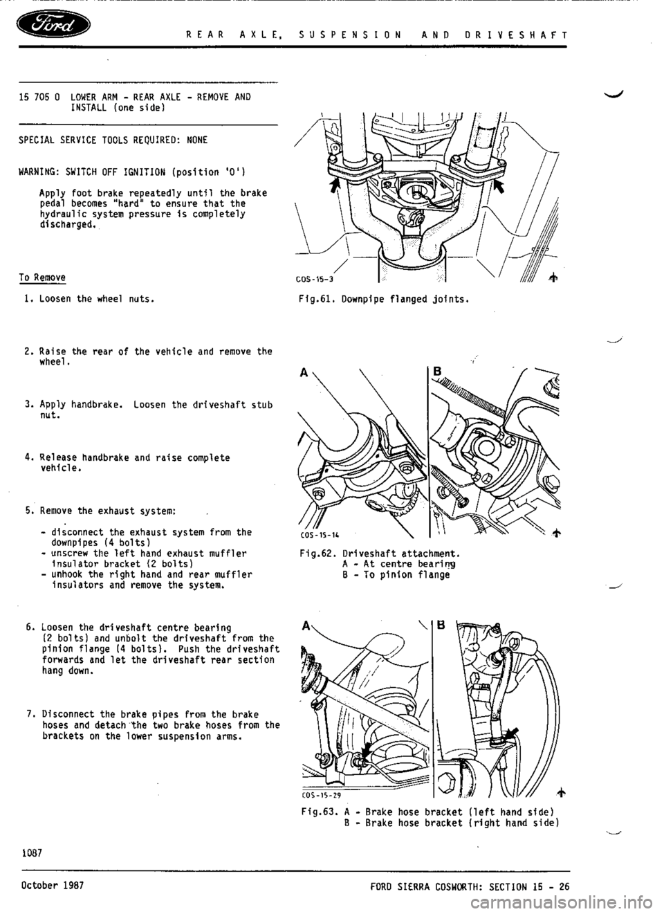 FORD ESCORT RS COSWORTH 1996 1.G Workshop Manual