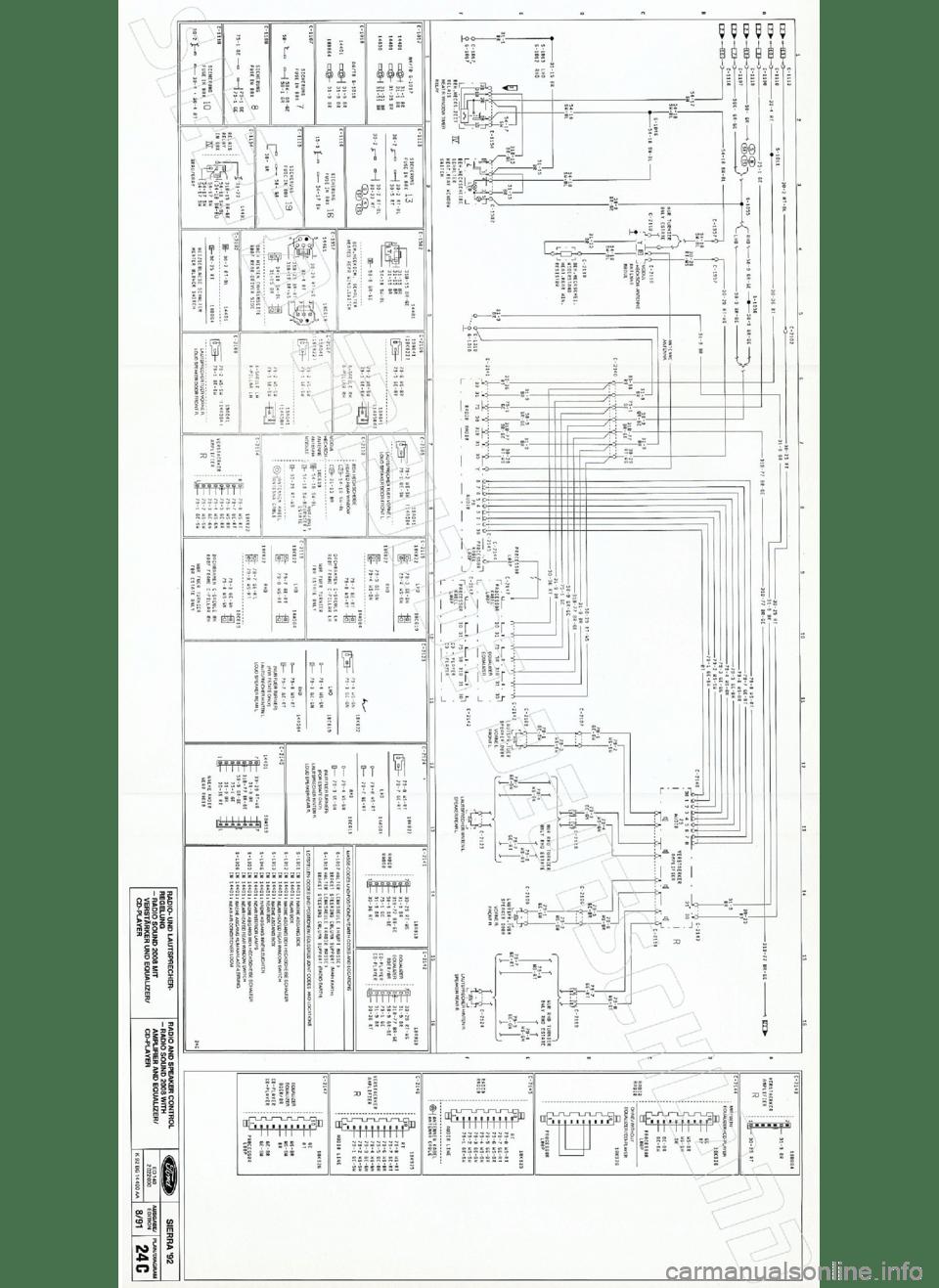 FORD SIERRA 1992 2.G Wiring Diagrams Workshop Manual