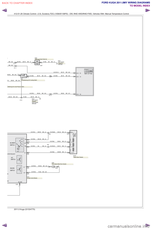 FORD KUGA 2011 1.G Wiring Diagram Workshop Manual