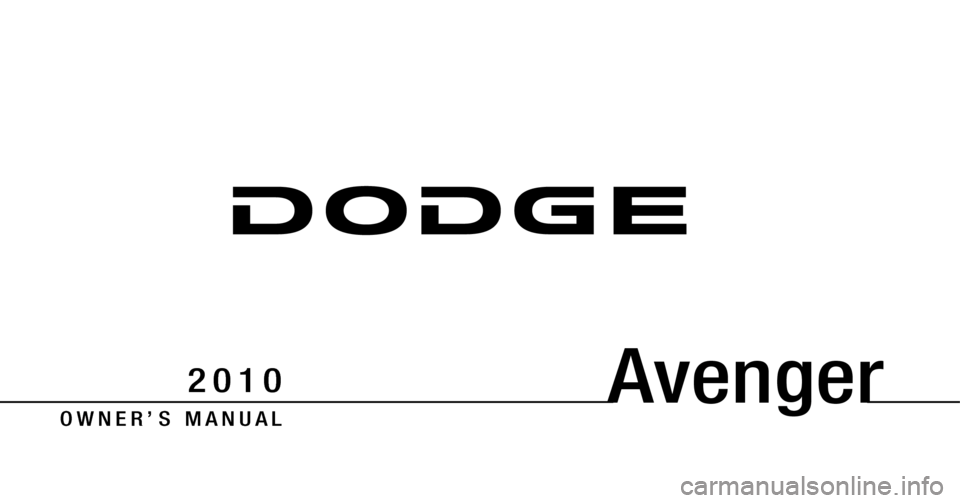 DODGE AVENGER 2010 2.G Owners Manual