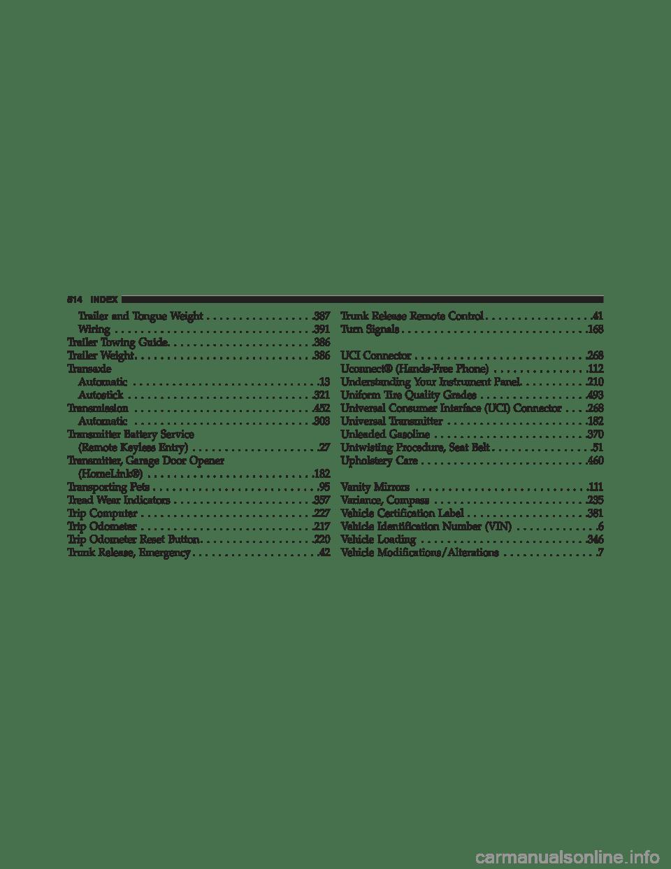 DODGE AVENGER 2013 2.G Owners Manual