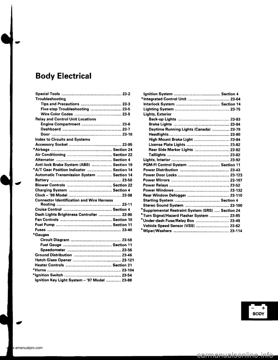 fuses HONDA CR-V 1998 RD1-RD3 / 1.G Workshop Manual