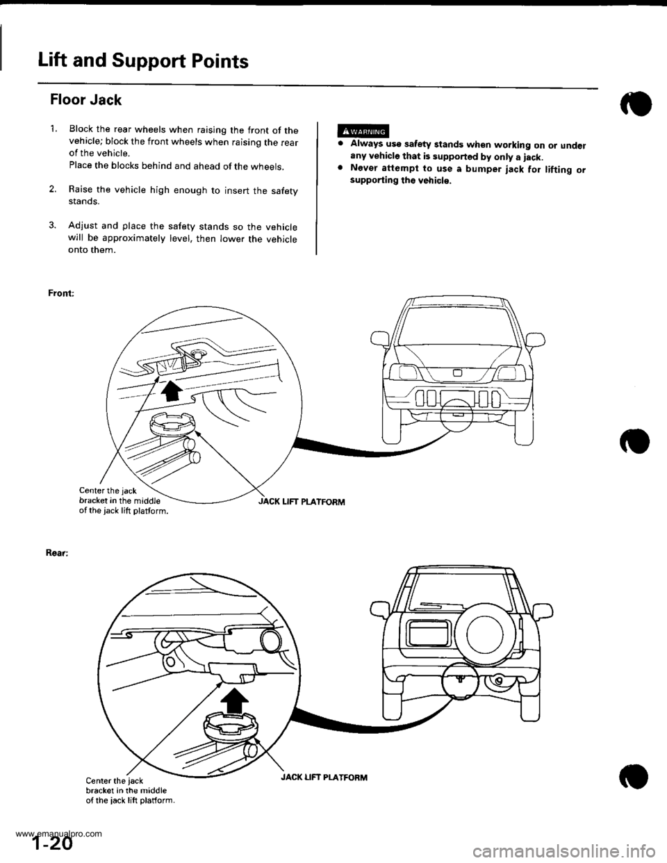 HONDA CR-V 1998 RD1-RD3 / 1.G Workshop Manual