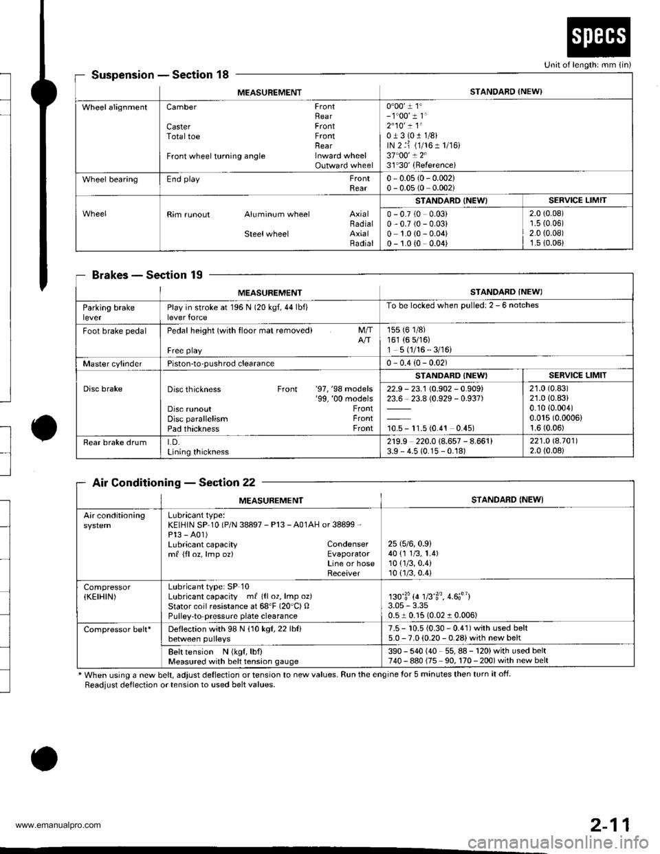 oil type HONDA CR-V 1998 RD1-RD3 / 1.G Workshop Manual
