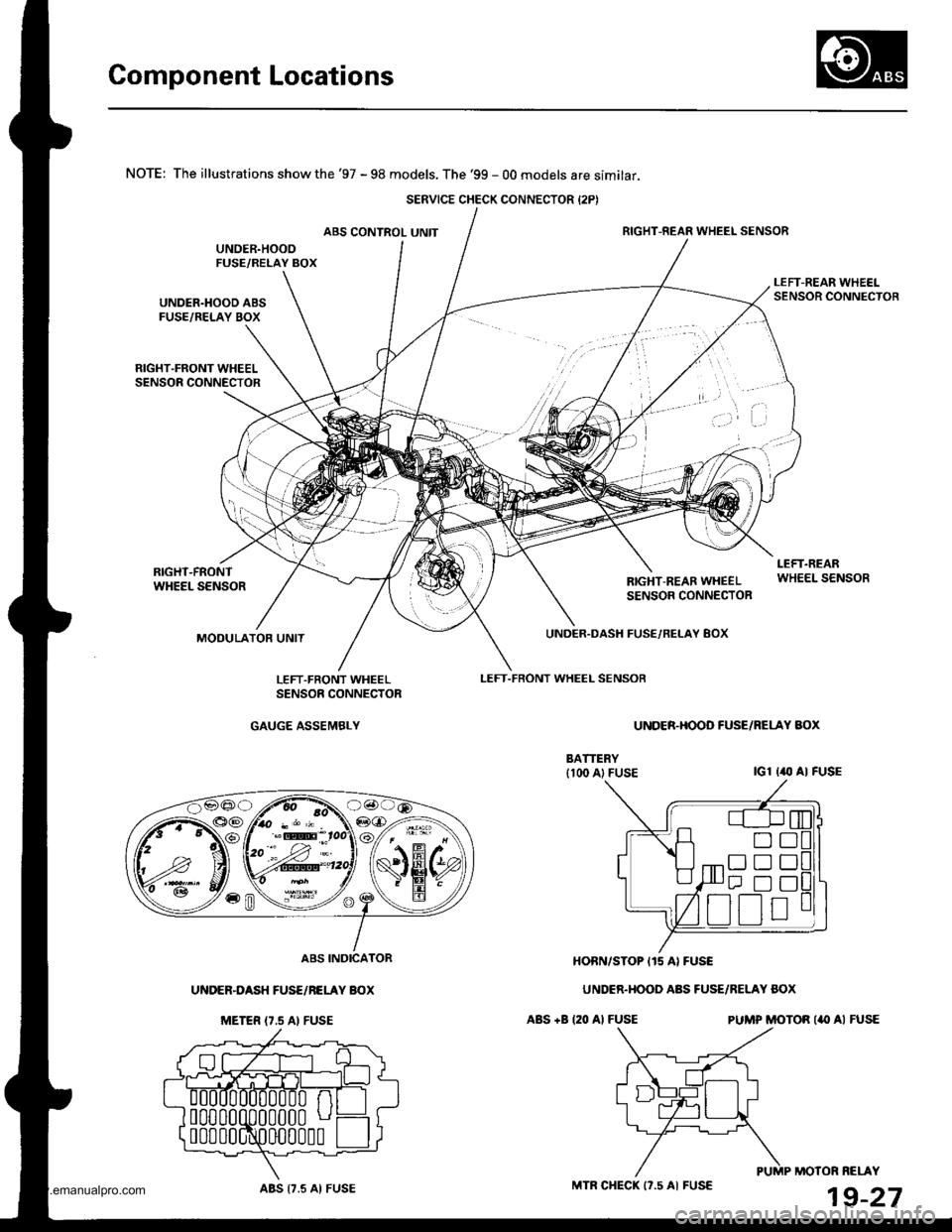 HONDA CR-V 1998 RD1-RD3 / 1.G Workshop Manual (1395 Pages