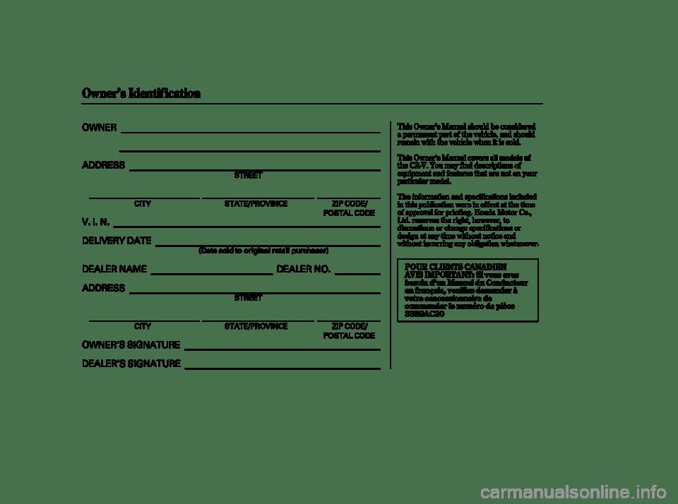 HONDA CR-V 2004 RD4-RD7 / 2.G Owners Manual