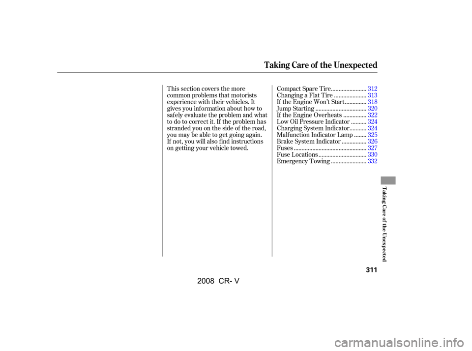 HONDA CR-V 2008 RD1-RD5, RE7 / 3.G Owners Manual