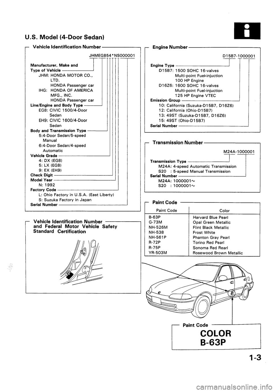 HONDA CIVIC 1993 5.G Workshop Manual (1258 Pages)