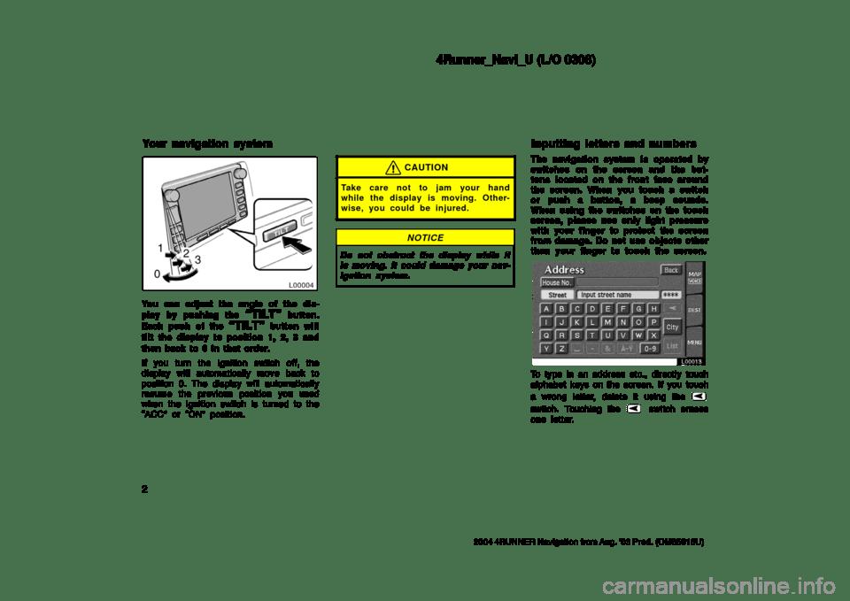TOYOTA 4RUNNER 2004 N210 / 4.G Navigation Manual