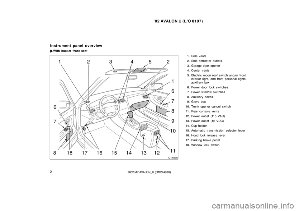 TOYOTA AVALON 2002 XX20 / 2.G Owners Manual (311 Pages)