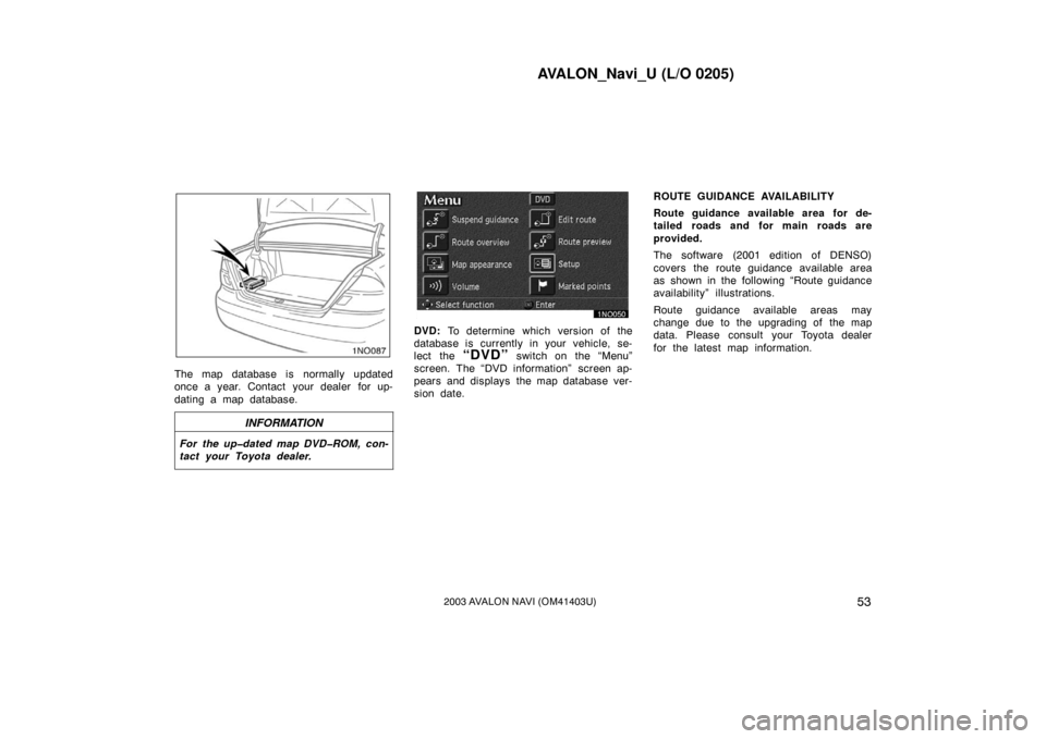 TOYOTA AVALON 2003 XX20 / 2.G Navigation Manual (122 Pages)