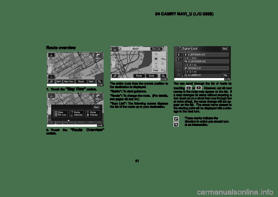 TOYOTA CAMRY 2004 XV30 / 7.G Navigation Manual