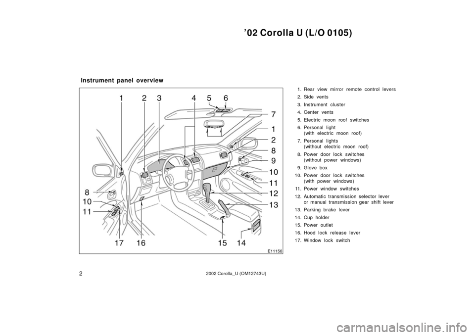 TOYOTA COROLLA 2002 E120 / 9.G Owners Manual