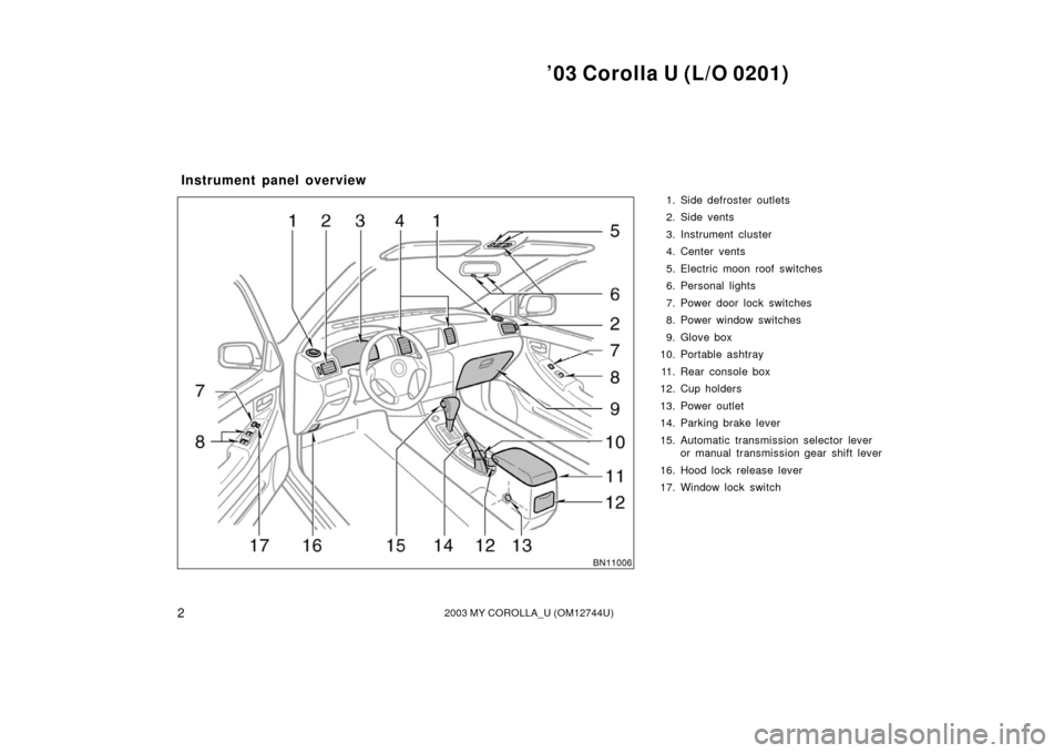 TOYOTA COROLLA 2003 E120 / 9.G Owners Manual (252 Pages)