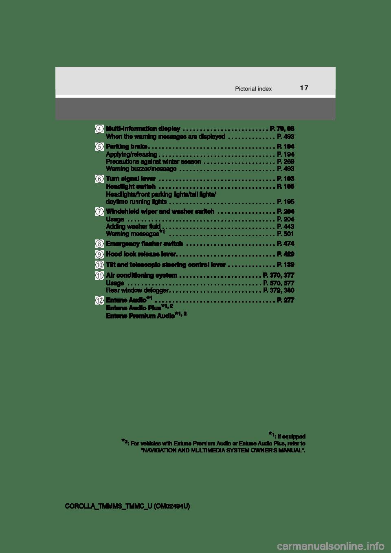 TOYOTA COROLLA 2017 11.G Owners Manual