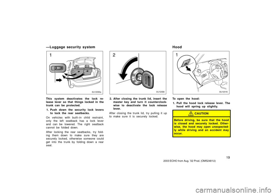 TOYOTA ECHO 2003 1.G Owners Manual