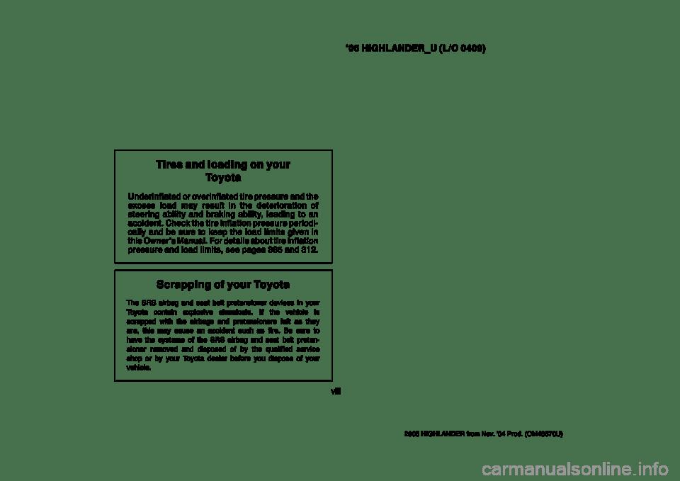TOYOTA HIGHLANDER 2005 XU20 / 1.G Owners Manual
