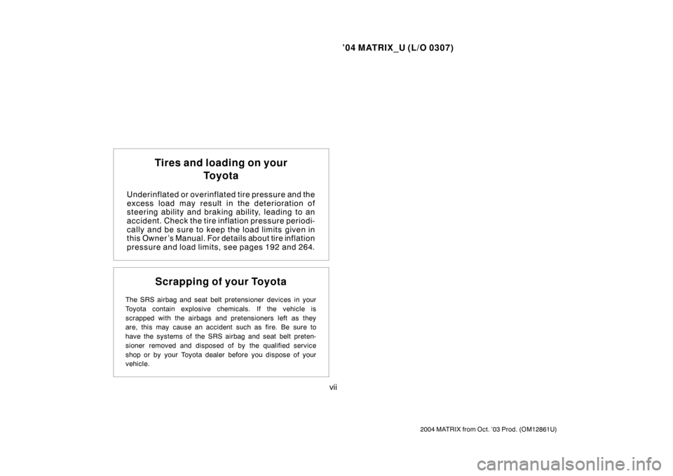 TOYOTA MATRIX 2004 E130 / 1.G Owners Manual