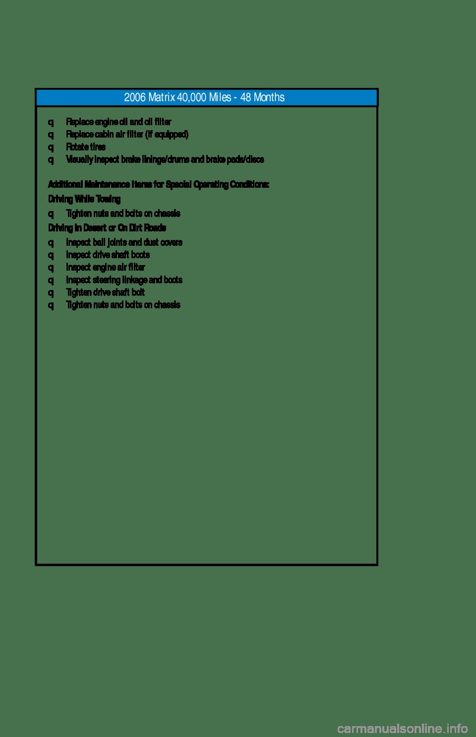 TOYOTA MATRIX 2006 E130 / 1.G Scheduled Maintenance Guide