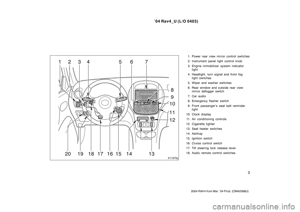 TOYOTA RAV4 2004 XA20 / 2.G Owners Manual