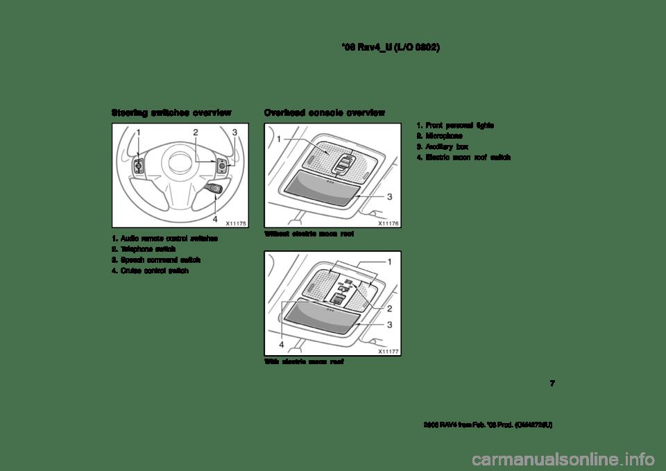 TOYOTA RAV4 2008 XA30 / 3.G Owners Manual