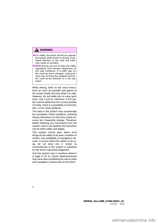 TOYOTA SIENNA 2015 XL30 / 3.G Navigation Manual