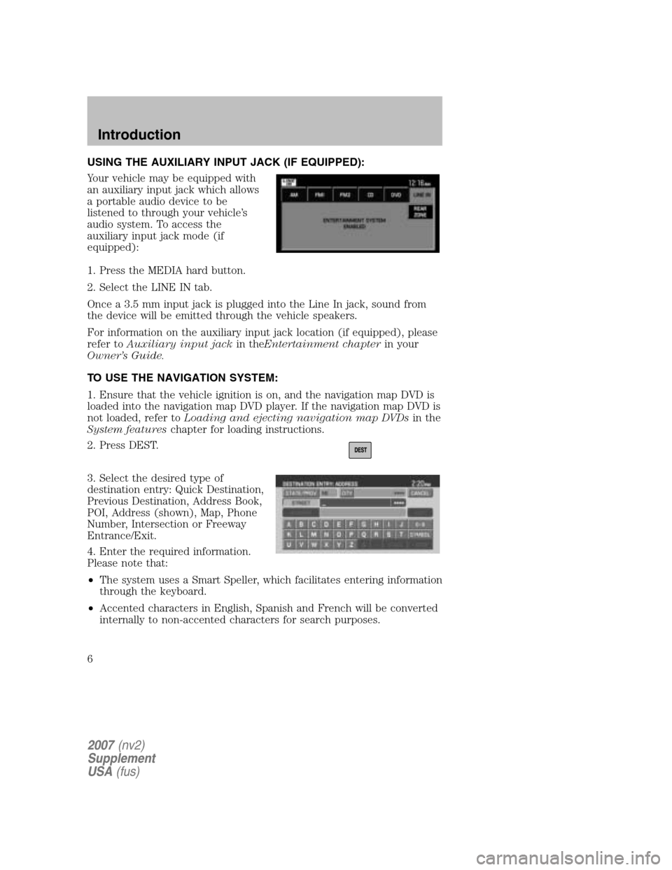 LINCOLN NAVIGATOR 2007 Navigation Manual