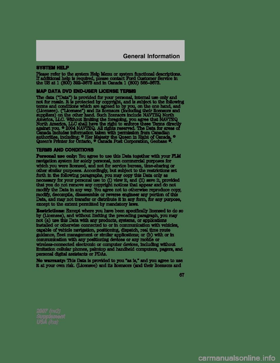 LINCOLN NAVIGATOR 2007 Navigation Manual