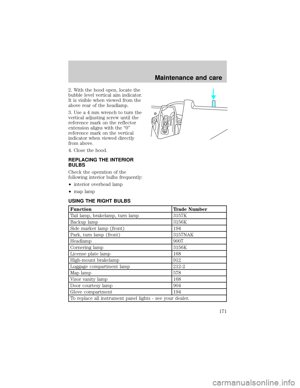 bulb LINCOLN TOWN CAR 1998 Owners Manual
