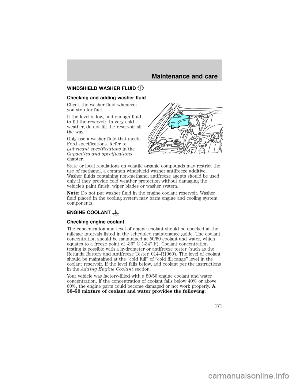 washer fluid LINCOLN TOWN CAR 2001 Owners Manual