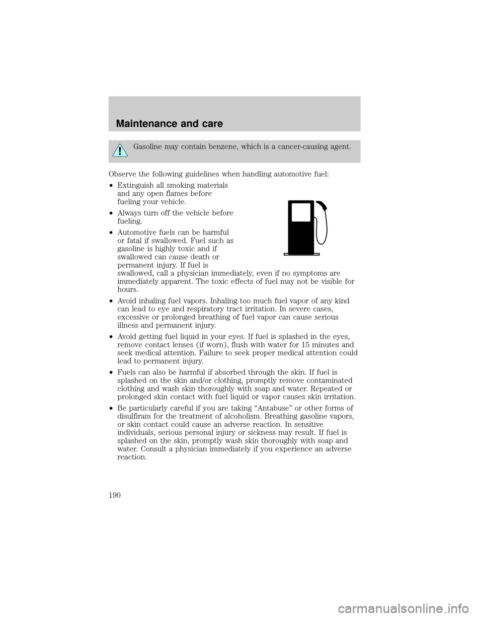 LINCOLN TOWN CAR 2001 Owners Manual