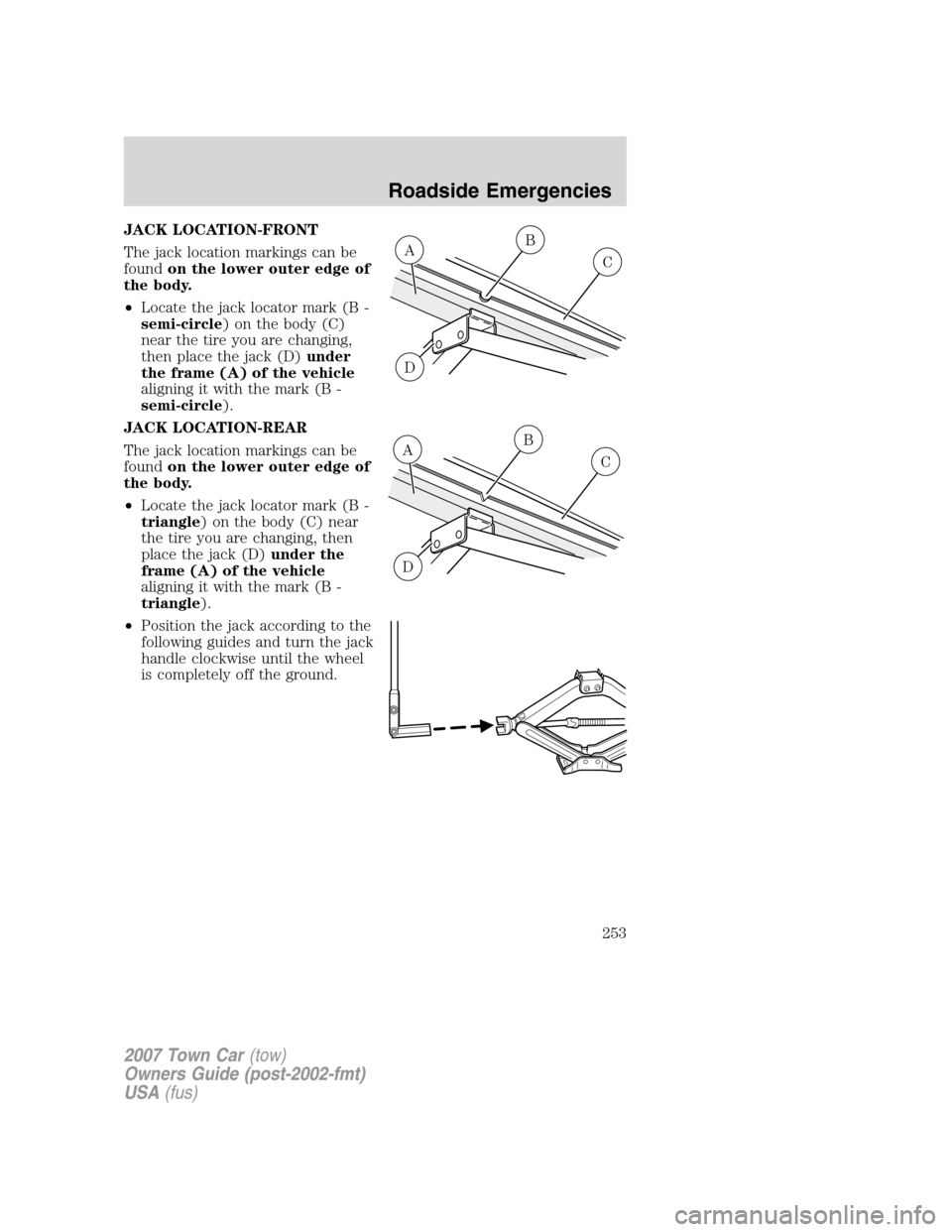 LINCOLN TOWN CAR 2007 Owners Manual (328 Pages), Page 260